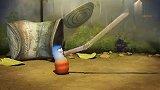 臭屁虫用吸管和饮料,趣味动画